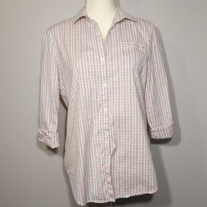 Lafayette 148 Plaid Button-Down Dress Shirt - S